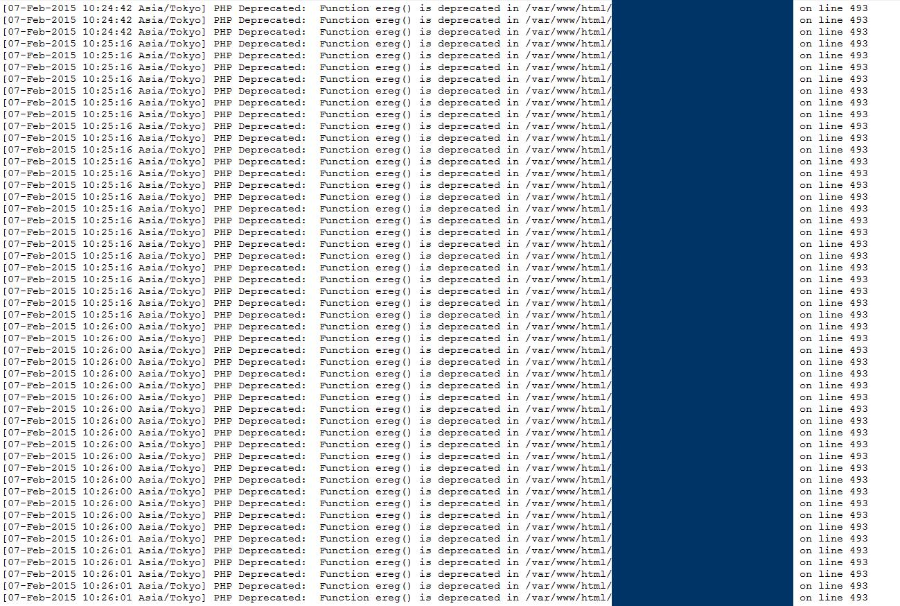 PHPのeregエラー画面