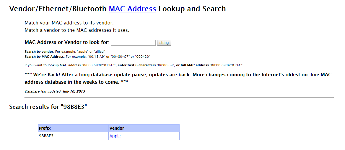 Vendor/Ethernet/Bluetooth MAC Address Lookup and Search