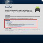 DroidPad スクリーンショット